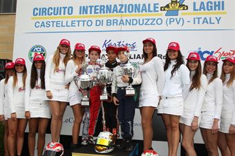 60 Mini   Podio gara 2 Muizzuddin, Podobsky, Marseglia, ITALIAN ACI KARTING CHAMPIONSHIP