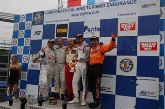 Podio gara 1, Meloni Ferraresi (W&D Racing Team, BMW M3 E46 B 3.6 #31), Busnelli Moccia (DTM Motorsport, Seat Leon Lon Run   B 2.0T #1), Paolo Meloni (W&D Racing Team, BMW M3 E46 B 3.6 #32), TCR ITALY TOURING CAR CHAMPIONSHIP