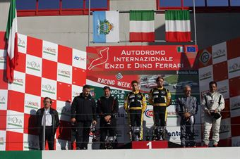 Podio gara 1, Zangari Zangari ( TJEMME, Seat Leon Long Run,Seat SC #12), Valli Gabellini (Zerocinque Motorsport, BMW M3 E90 #33), Montalbano Vita (MM Motorsport,SEAT Leon Long Run B 2.OT #5), TCR ITALY TOURING CAR CHAMPIONSHIP