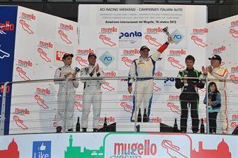 gara 1 podio 2° div. Mariano Bellin (Pro.Motorsport Srl,BMW 320i B24 2.0#204), Piccin Paravati (A.S.D. Super 2000, Honda Civic Type R B 24h 2.0 #205), Notarnicola Montalbano (Autostar Motorsport,Renault New Clio B24 2.0 #212) , TCR ITALY TOURING CAR CHAMPIONSHIP
