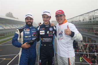 Podio TCR gara 1, Giacomo Altoè (Target Srl,Audi RS3 LMS TCR #10), Stefano Comini (Top Run Motorsport,Subaru STI TCR #99), Nicola Baldan (Pit Lane,Seat Leon TCR TCR #8) , TCR ITALY TOURING CAR CHAMPIONSHIP