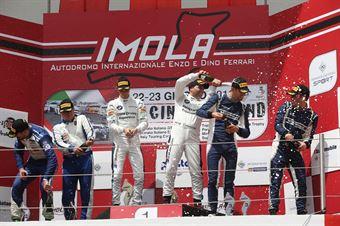 Podio GT4 gara 1 Fascicolo Guerra (BMW Team Italia,BMW M4 GT4 #207) Ghezzi Chiesa Camathias (Autorlando Sport,Porsche 718 Cayman GT4 #276) Cerqui Rodrigues (V Action Racing Team,Maserati Gran Turismo MC GT4 #210), CAMPIONATO ITALIANO GRAN TURISMO