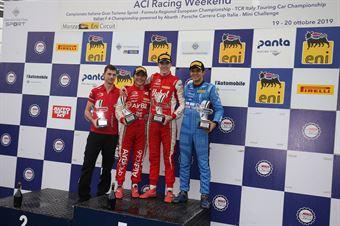 Podio gara 3 Frederik Vesti  (Prema Powerteam,F3 Tatuus 318 A.R. #2)Enzo Fittipaldi (Prema Powerteam,F3 Tatuus 318 A.R. #74)Igor Fraga (DR Formula,F3 Tatuus 318 A.R. #17), FORMULA REGIONAL EUROPEAN CHAMPIONSHIP