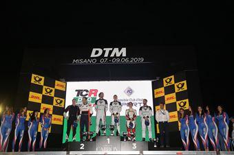 Podio Assoluto, vincitori Altoè Altoè (Scuderia del Girasole,Cupra TCR DSG #63), secondi Gabbiani Segù (Pit Lane Competizioni,Volkswagen Golf GTI TCR DSG #3), terzi Barberini Fedeli (Scuderia del Girasole,Cupra TCR DSG #33), TCR DSG ENDURANCE